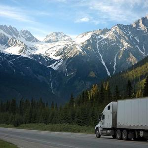 Truck and moutains