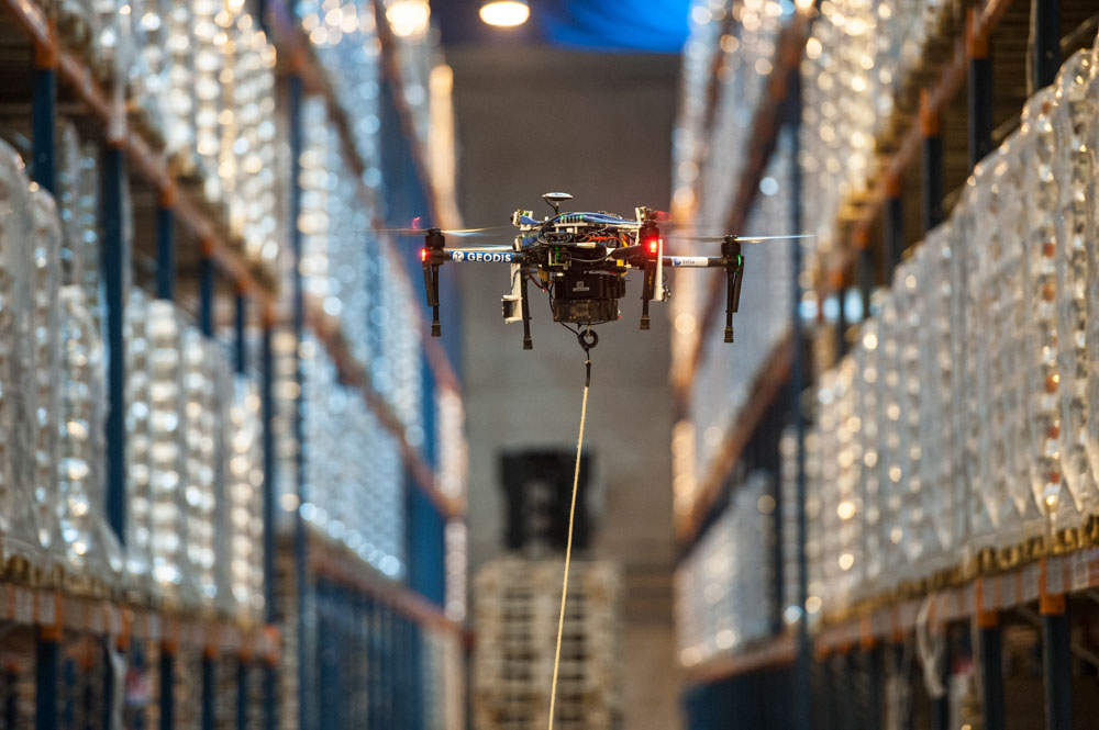 warehouse inventory using drones  geodis and delta drone
