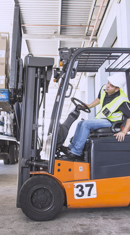 GEODIS employee driving forklift